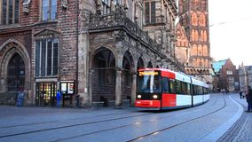 Tram in the old town of Bremen. April 5, 2015 in Bremen, Germany stock footage
