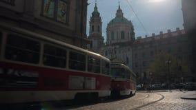 Tram in Old Town of Prague, Czech Republic stock video