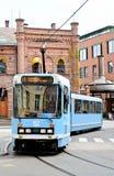 Tram op de straat Stock Fotografie