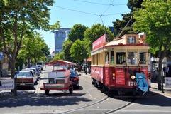 Tram op de Straat Christchurch, Nieuw Zeeland van Worcester Stock Fotografie