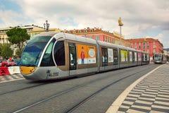 Tram op Plaats Massena in Nice, Frankrijk Stock Foto's