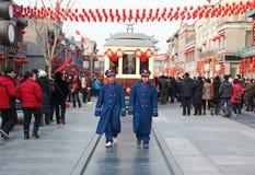 Tram op Straat Qianmen, in Peking Stock Afbeeldingen