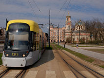 Tram and Orthodox church. Royalty Free Stock Photo