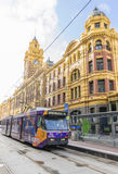 A tram outside the Flinders Street Station in Melbourne Royalty Free Stock Photo