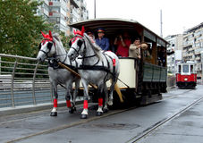Tram parade. Old tram with horses at Tram Parade in Bucharest, celebration 100 years of public transportation Stock Photo
