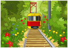 Tram in the park. Royalty Free Stock Photo