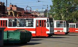 Tram park in St  Petersburg. Tram park in St. Petersburg, Russia Royalty Free Stock Photos