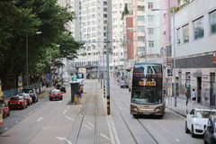 tram pass at island of west hk Stock Image