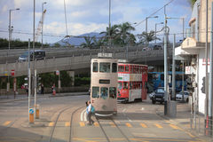 tram pass at island of west hk Stock Photography