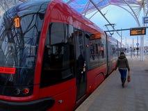 Tram and passenger. Stock Photo