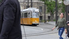 Tram passing by in Budapest, Hungary stock video