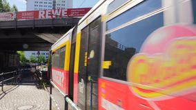 Tram passing in central Berlin. Video of tram passing in central Berlin stock video footage