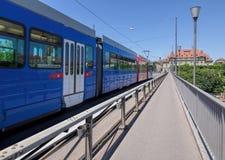Tram passing the Kirchenfeld bridge in Bern Royalty Free Stock Images