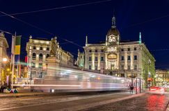 Tram passing Piazza Cordusio in Milan Stock Photo