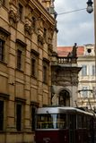 Tram at St. Salvator Church, Prague - Czech Republic royalty free stock photos