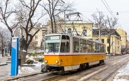 Tram at Patriarch Evtimiy Square in Sofia Stock Image