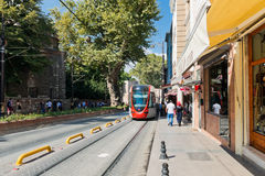 Tram and people are in downtown of Istanbul on August 24, 2013 Royalty Free Stock Photography