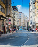 Tram and people are in downtown of Istanbul on August 24, 2013 Royalty Free Stock Images