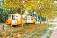 Tram in perspective from Milan. Autumn season. Royalty Free Stock Photography