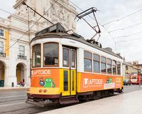 A Tram in Commerce Square, Lisbon. A tram is pictured in Commerce Square, Lisbon, Portugal Stock Photography