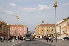 Tram in Place Masséna Stock Image