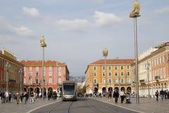 Tram in Place Masséna Stock Image