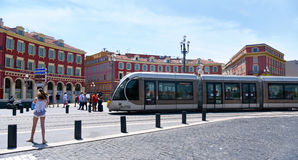 Tram at Place Massena in Nice, France Royalty Free Stock Photography