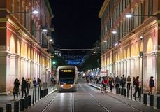 Tram in Place Massena in Nice royalty free stock photography