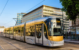 Tram on Place Poelart in Brussels Royalty Free Stock Photos