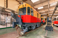 Tram plow. Tram inside the depot Stock Images