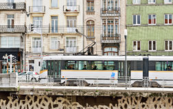 Tram in a popular area in center of Brussels Stock Photography