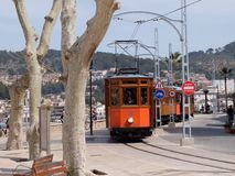 Tram at Port de Soller, Mallorca, Spain. Tram on the marina Royalty Free Stock Photos