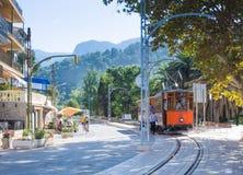 Tram in Port de Soller Mallorca stock photo
