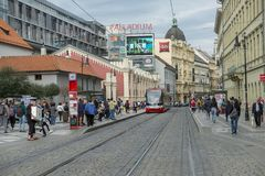 Public transfer in Prague, Czech Republic. Tram in Prague, Czech Republic. The tram and metro system is the best and quickest transfer to get anywhere in this royalty free stock photography
