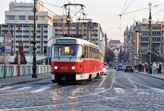 Tram in Prague. The Prague streetcar on the track on cechuv most bridge in Czech Republic Royalty Free Stock Photos