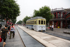 Retro tram in the Qianmen street is located in the Beijing Stock Image