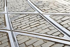 Tram rail. Close up in Lisbon, Portugal stock photography