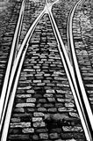 Tram rail. A tram rail and cobblestones in Lisbon, Portugal Royalty Free Stock Photography