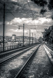 Tram rail lines Royalty Free Stock Images