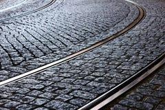 Tram Rail, Lisbon, Portugal. Detail of the tram rail at Lisbon, Portugal Stock Images