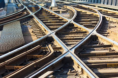 Tram rail road. Disposition of the tram and train rail junctions or separation tracks Stock Images