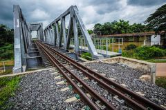 Railway and bridge crossings. Tram and railroad crossings without rail Stock Images