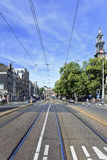 Tram Rails in Amsterdam Old Town Stock Photo