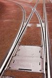 Tram Rails And Switch In Pavement Of City Street Royalty Free Stock Photography