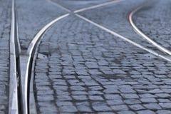 Tram rails Stock Photo