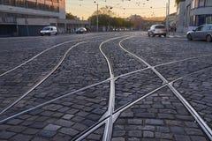Tram rails old urban street Stock Images