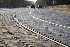 Tram rails in historic Munich, Germany Stock Photos