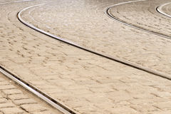 Tram rails in historic Munich, Germany Royalty Free Stock Photo