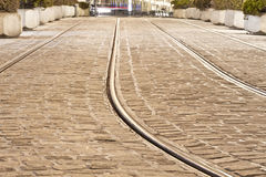 Tram rails in historic Munich, Germany Royalty Free Stock Photography