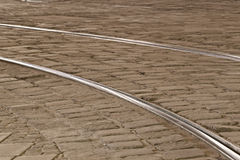 Tram rails in historic Munich, Germany Royalty Free Stock Photos
